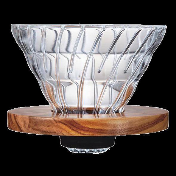 Hario V60 Glas Dripper 02, Olivenholz