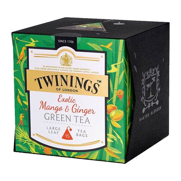 Twinings Exotic Mango & Ginger Green Tea, 15 Teebeutel