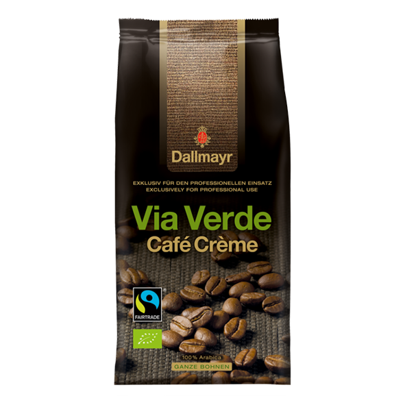Dallmayr Bio Via Verde Café Crème Vending & Office, ganze Bohnen, 1000g