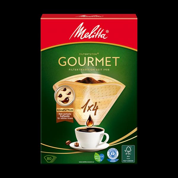 Melitta® Filtertüten® Gourmet®, 1x4®, naturbraun, 80 Filtertüten