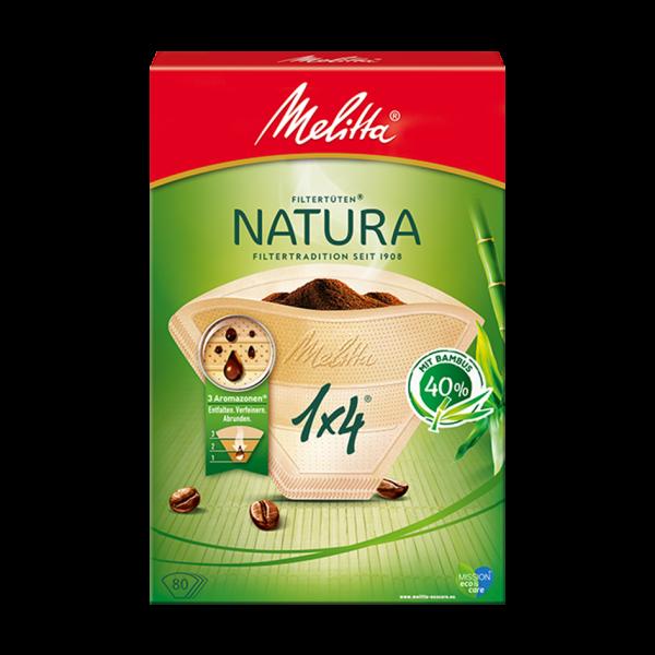 Melitta® Filtertüten® Natura, 1x4®, 80 Filtertüten
