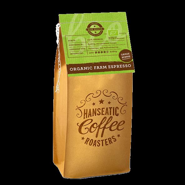 Hanseatic Coffee Company Bio Organic Farm Espresso, 1000g ganze Bohne