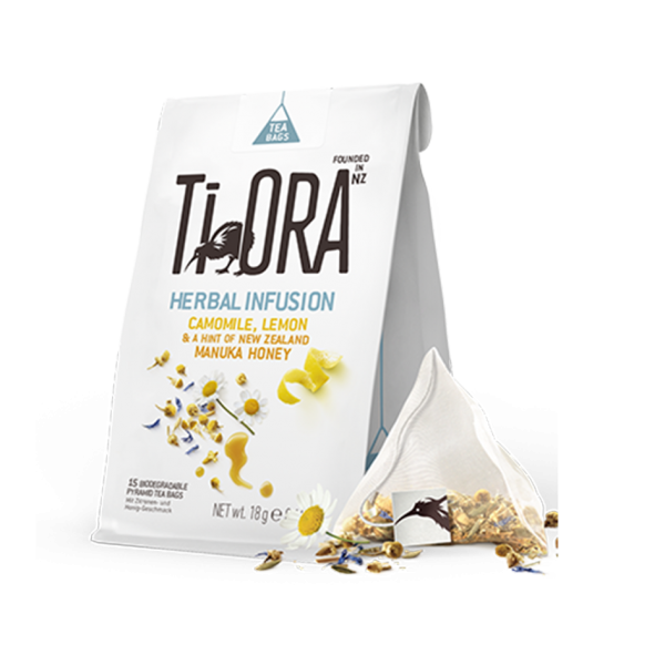 TiOra Herbal Infusion Camomile Lemon, 15 Pyramidenbeutel